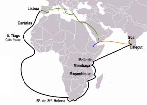 Карта путешествия Васко да Гамы