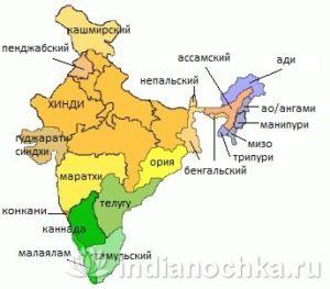 Карта языков Индии