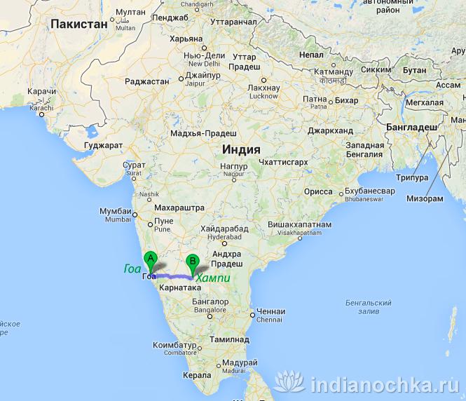 Карта Индии из Гоа в Хампи