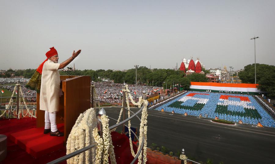 Речь в честь Дня Независимости на площади
