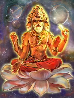 Бог Брахма с белой бородой