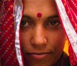 Красная точка на лбу у индианки