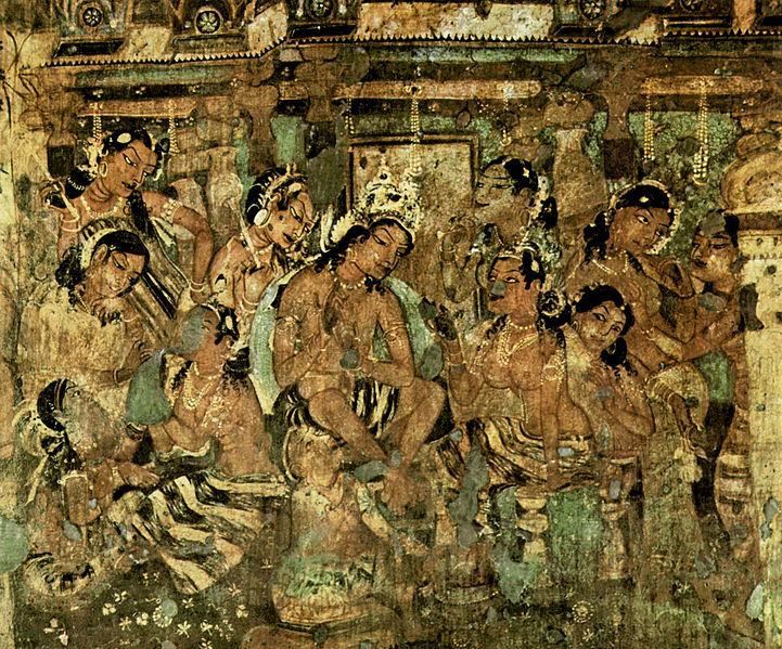 Наскальная роспись в пещерах Аджанты