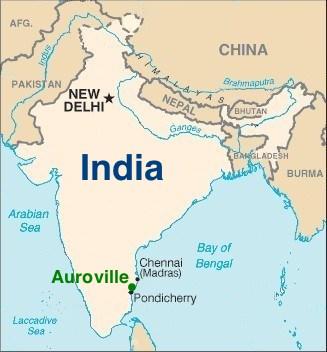 Ауровиль на карте Индии